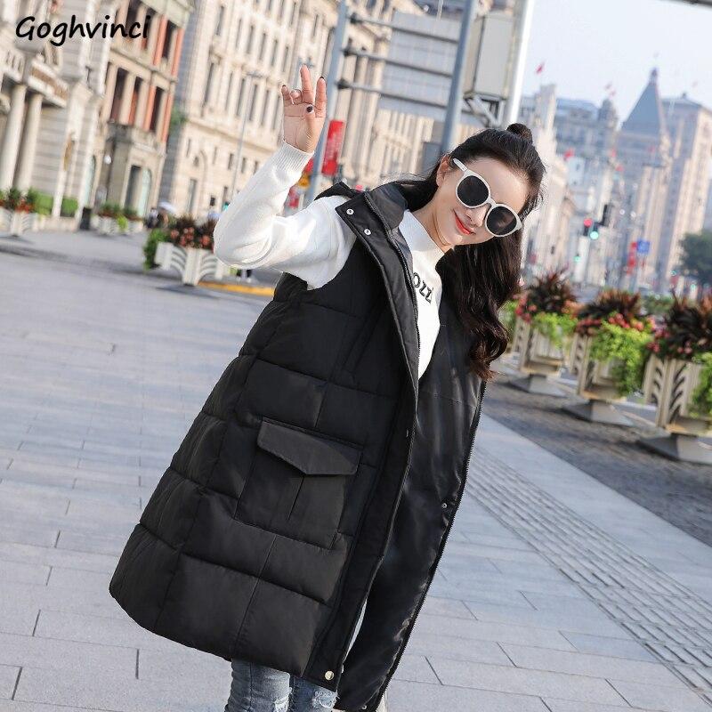 Vest For Women Winter New Fashion Korean Style Womens Vests Long Pockets Zipper Solid Plus Size Comfortable Hot Sale Clothing