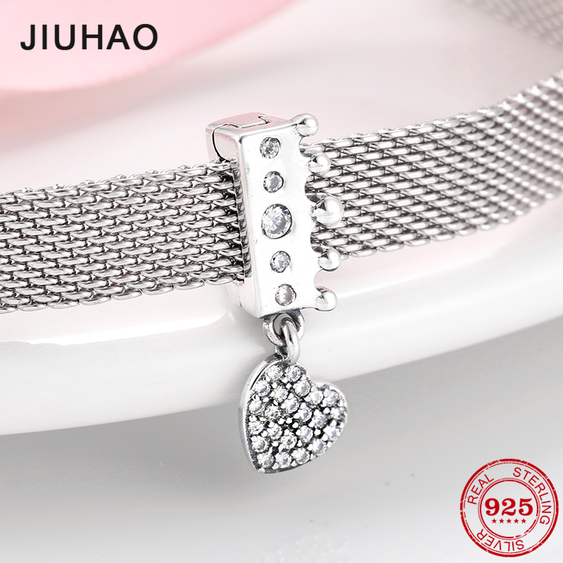 925 Sterling Silver Princess's Crown With Dangle Clear CZ Heart Clip Beads Fit Original Reflection Charm Bracelet Jewelry Making