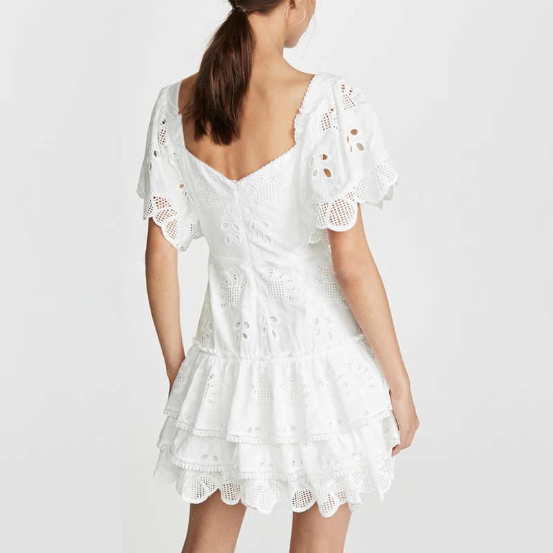 SMTHMA 2019 nouveau décontracté évider broderie femmes robe de piste col carré Flare manches taille haute volants Mini robe