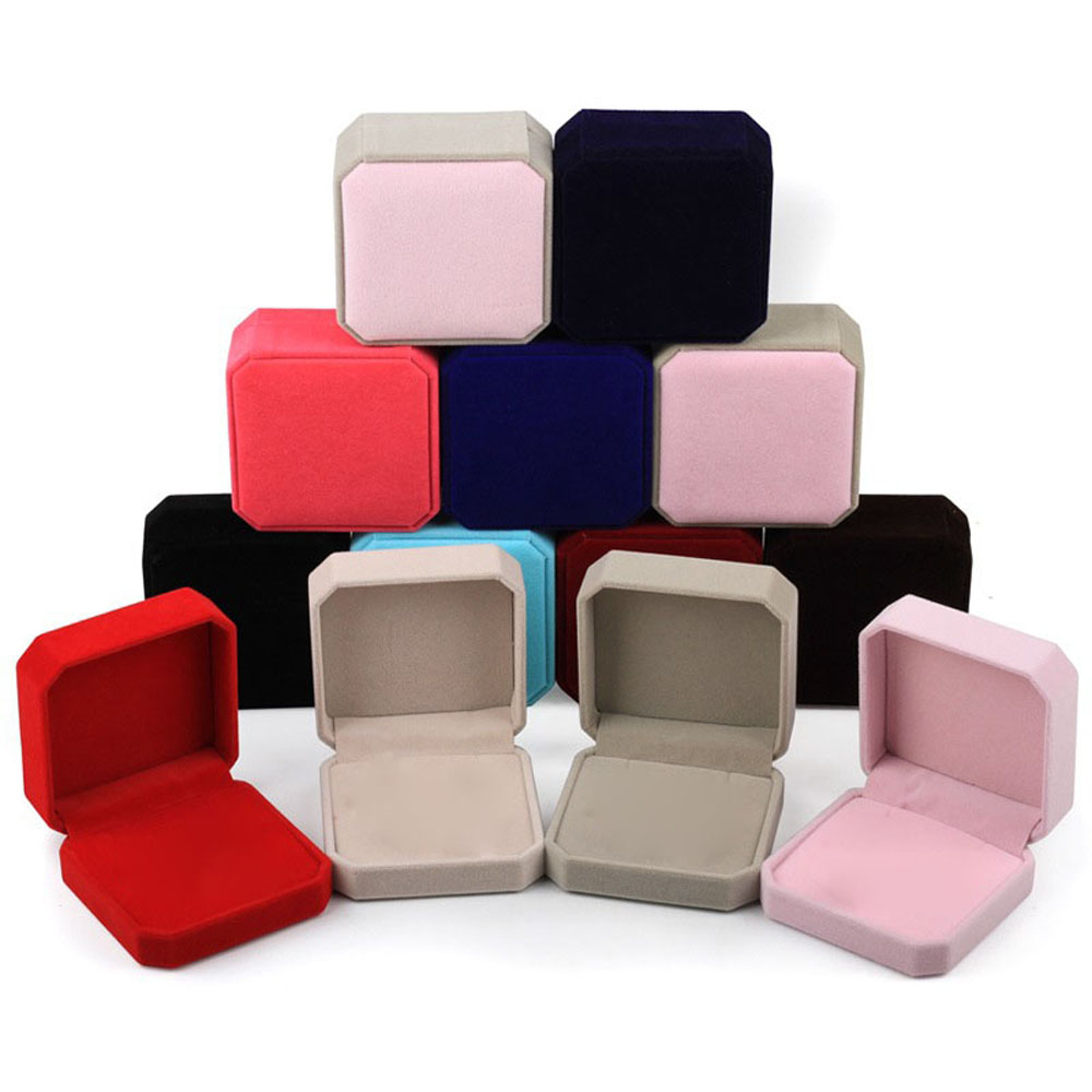 Fashion Velvet Jewelry Box For Rings Earring Necklace Set Jewelry Display Square Geometric Packaging Boxes Gift Decoration