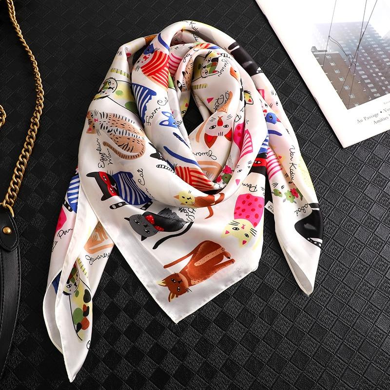 Women Silk Scarf Square Shawls And Wraps Cat Animal Print Hijab Scarves For Ladies Summer Office Hair Neck Foulard Bandana