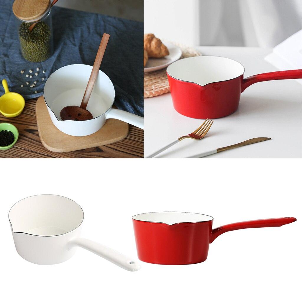 Enamel Sauce Pan Saucepan Non Stick Restaurant Camping Kitchenware 1.2L