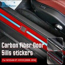 AIRSPEED คาร์บอนไฟเบอร์สำหรับ Nissan GTR R35 2008 2016อุปกรณ์ตกแต่งภายในรถประตู Sills แผ่น Protector Cover สติกเกอร์