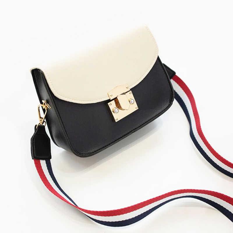 52d60ede908 Women Casual Small PU Leather Brand Designer Bag Messenger Handbags  Crossbody Bags 2019 Fashion Shoulder bag Wide Strap