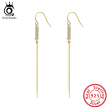 ORSA JEWELS 100% 925 Sterling Silver Dangle Earrings Cylindrical Tassel Ear Hook Micro Paved CZ Drop Fine Jewelry SE287