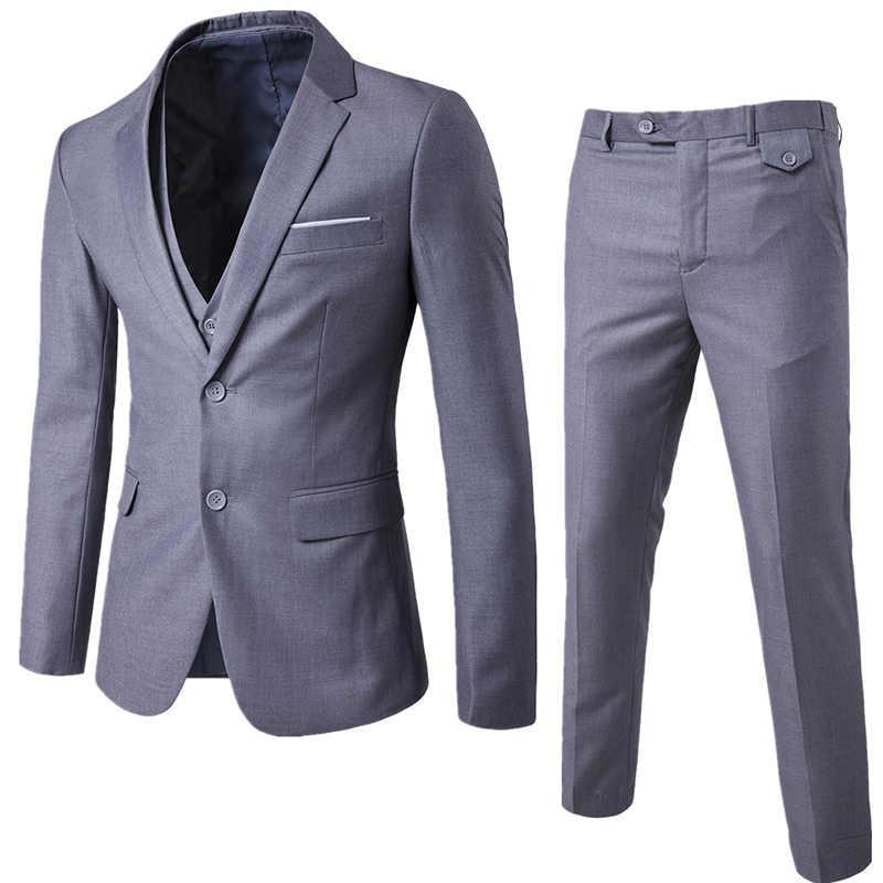 Quality Blazer Set Men Pant Suits Two Button Casual Suit Male Party Wedding Groom Suits For Best Men Formal Jacket Pants Vest