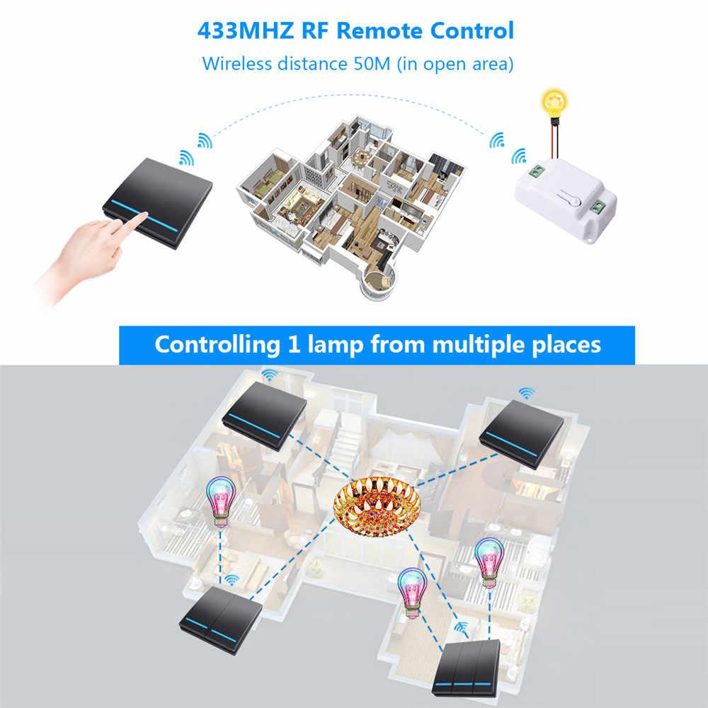SMATRUL lampe de plafond avec boutons, interrupteur sans fil intelligent à poussée 2/3 V, récepteur, panneau mural, 1/433 Mhz