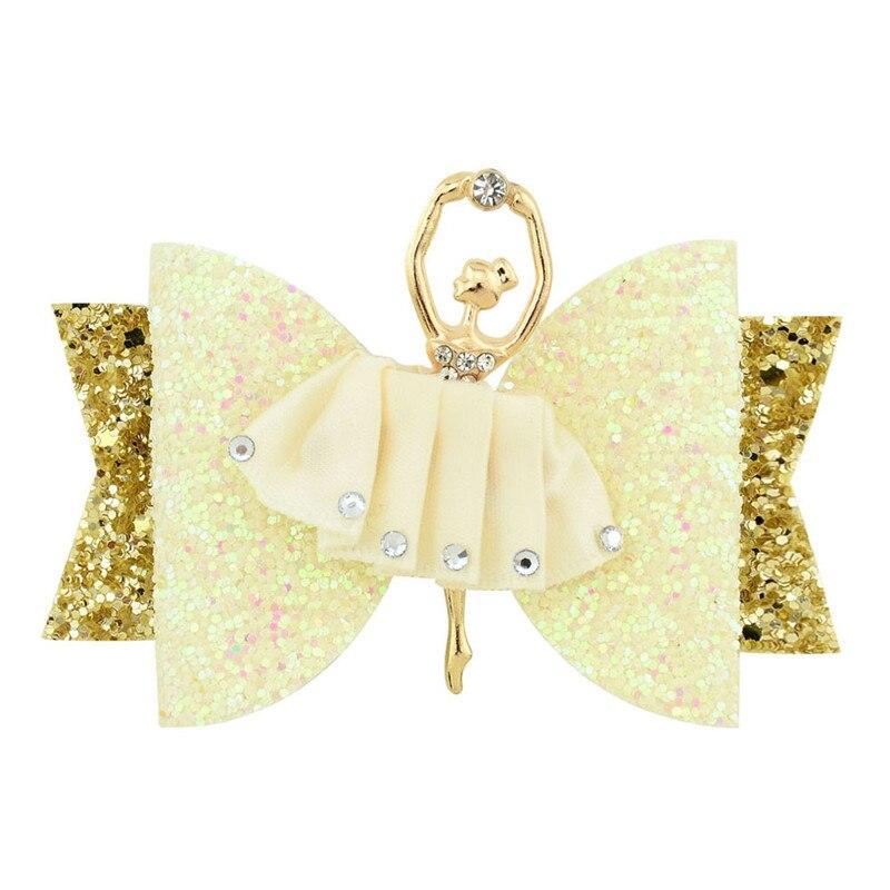 Купить с кэшбэком Ballet Girl Hairclip Bright Powder Half Bag Cloth Children Hair Decoration Rhinestone Butterfly Festival Side Clip Jewelry
