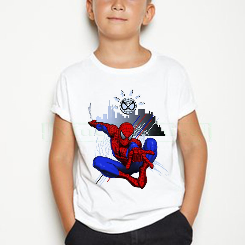 Children tshirt Number Super Hero Cartoon Children's Pure cotton T-shirt Summer Soft Cotton Boys T Shirt Spider Man Tshirt Kid