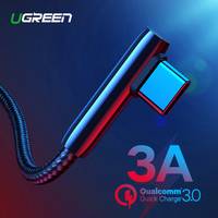 Ugreen USB C Cable 90 Degree USB Type C to USB A Fast Charger Data Cable for Samsung S9 S8 Note 9 Mobile Phone Charging USB Cord