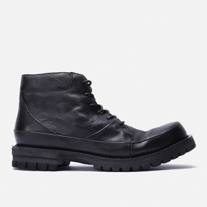 British Style Platform Motorcycle Boots Men High Quality Lace Up Real Leather Cowhide Work Ankle Shoes Winter Retro Botas Hombre