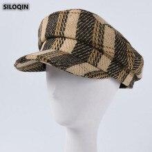 Flat Cap Hat Military-Hats Women's Autumn Winter Fashion Brand SILOQIN Gorras Plaid Leisure