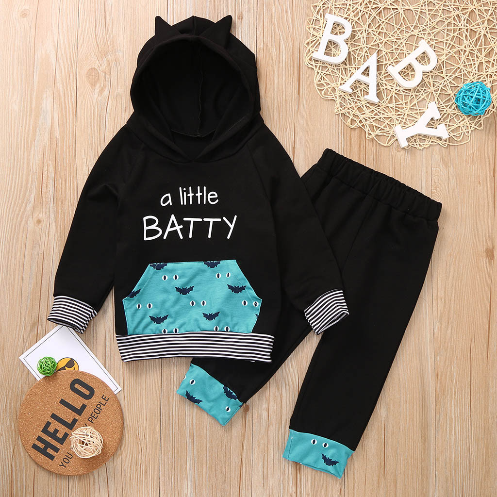 Kids Toddler Boy Long Sleeve Hooded Sweatshirt Pants Outfits Clothes Tracksuit