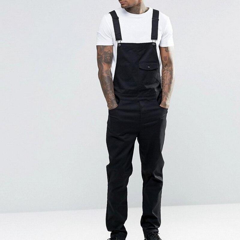 MONERFFI For Man Suspender Pants Men's Jeans Jumpsuits High Street Distressed 2020 Autumn Fashion Denim Male Plus Size S-3XL 7