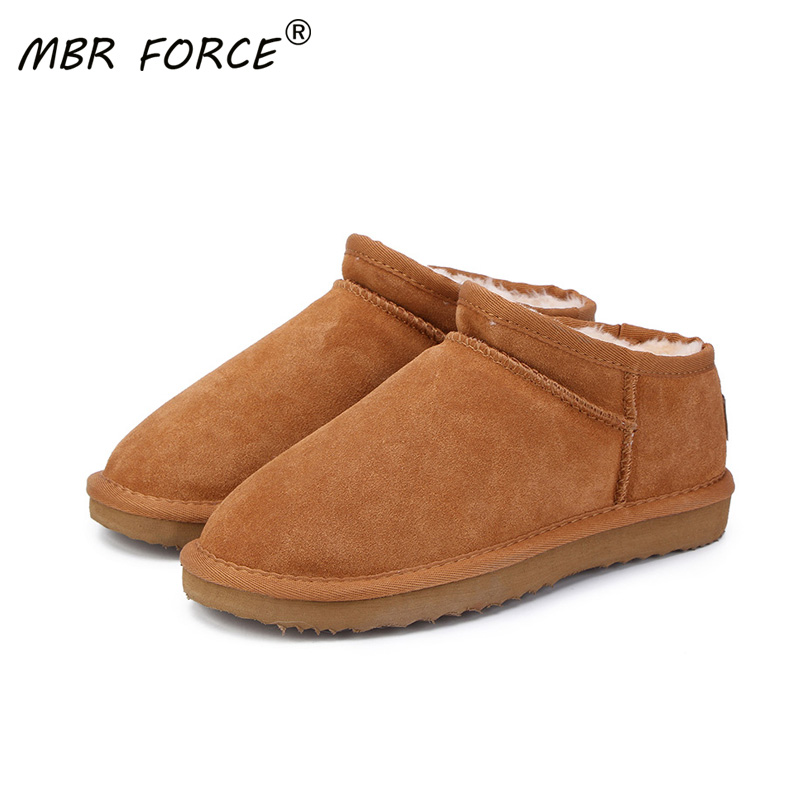 MBR FORCE Women Australia Classic Style  Snow Boots Winter Warm Leather Flats Warterproof High quality Ankle Boots large size
