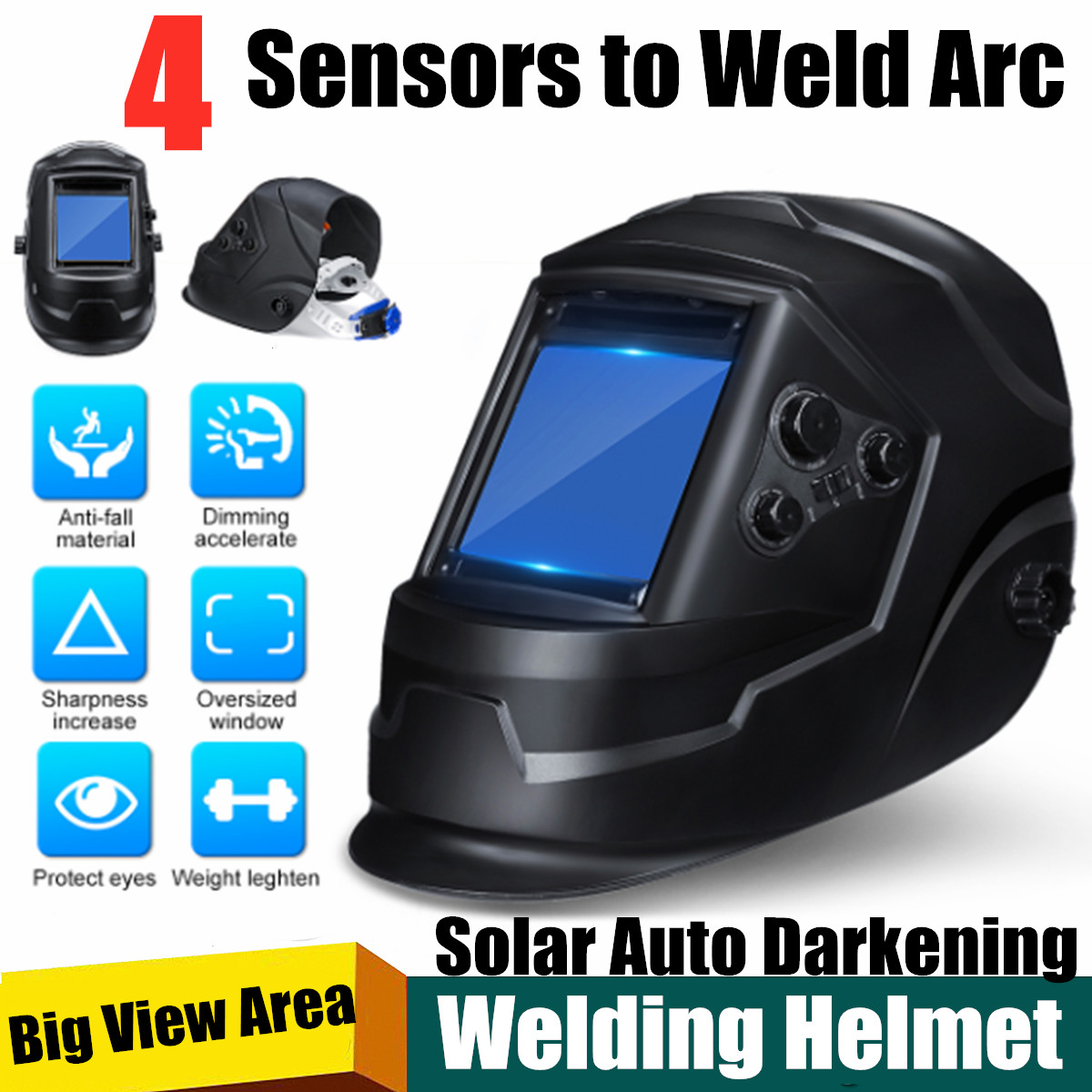Solar Power Auto Darkening Welding Helmet Big View 4 Arc Sensor DIN5-DIN13 TIG MIG MMA Welding Mask/Helmet/Welder Cap/Lens/Face