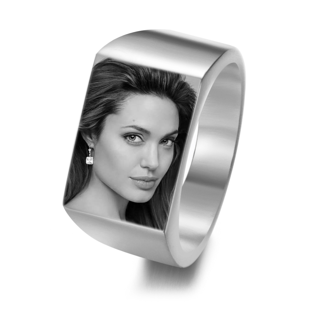 Laser Customized Personal Photos Letter Name Ring Unique Stainless Steel Polished Own Logo Ring Jewelry For Men And Women