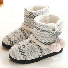 Winter women Weaving Pattern slippers for girls Short plush Non slip Indoor shoes Plush ball High top Striped