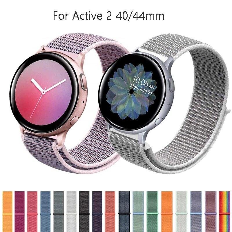 20 мм нейлоновый ремешок для Samsung Galaxy Watch Active 2 40 мм 44 мм мягкий дышащий сменный ремешок спортивный ремешок для Active2