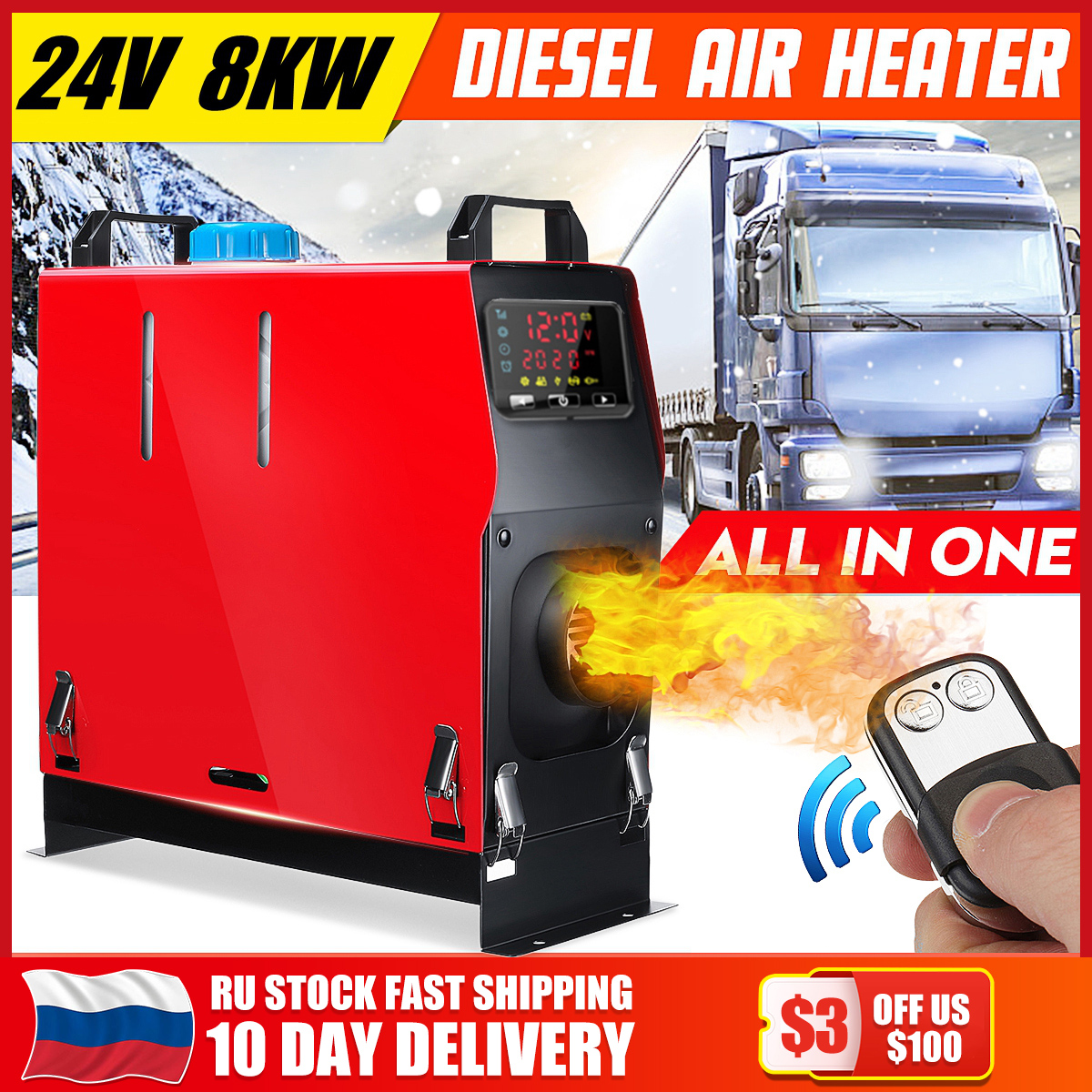 8000W 24V All In One Car Heating Tool Diesel Air Heater Single Hole LCD Monitor Parking Warmer For Car Truck Bus Boat RV Model