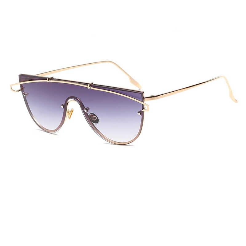 Moda di lusso Occhiali Da Sole Senza Montatura Delle Donne di Colore Rosa Chiaro lente Flat Top pilota occhiali da sole per le donne Retro Vintage Donna Occhiali da sole donne