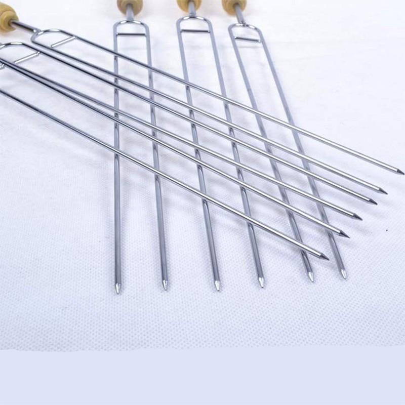 6 шт. игла-вилка для барбекю из нержавеющей стали с деревянной ручкой ряд U жаркое барбекю шашлык инструменты для пикника кемпинга принадлежности для барбекю