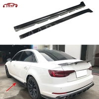 For S4 Carbon Fiber Side Skirts For Audi A4L S4 B9 Sedan 2017 2018 FRP Door Bumper Aprons Trim Guard Car Styling