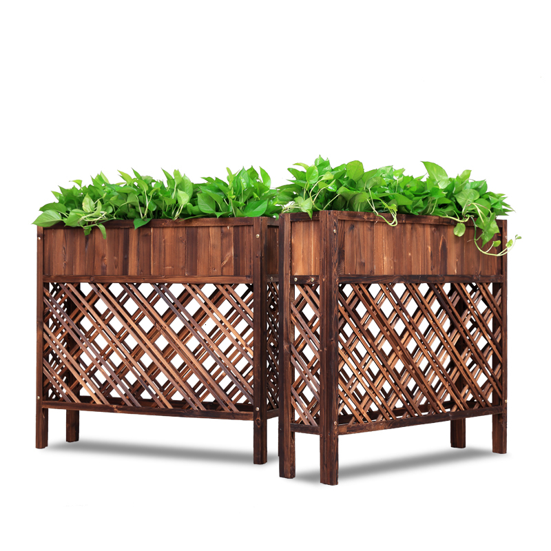 Anticorrosive Wood Solid Wood Outdoors Hotel Fence Enclosure Flower Groove Carbonization Grid Flowerpot Frame