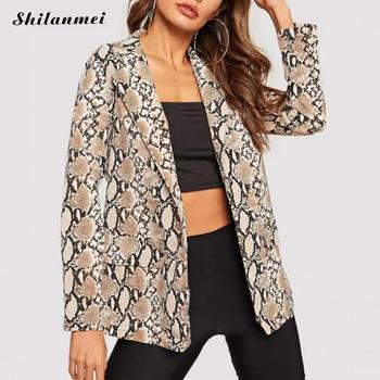 цена Women Autumn Winter Street Blazers Ladies Snakeskin Print Blazer 2019 Trendy Women's Blazers Coat Fashion Jacket 3xl 4xl онлайн в 2017 году