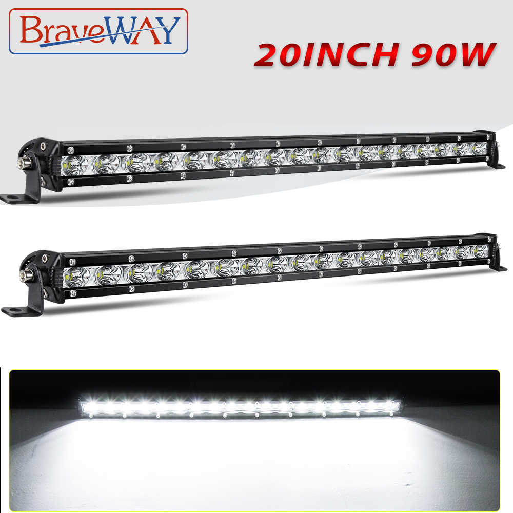 Braveway Super Slim 6D LED Light Bar Satu Baris 20 Inci 90W Spot Banjir Combo Beam untuk Suv 4X4 ATV Off Road Lampu Kerja LED 12V 24V