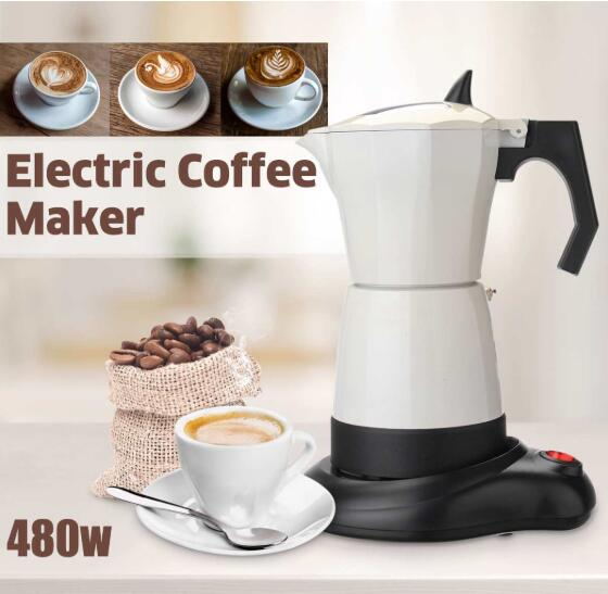 480W 6 Cups Electric Tea Coffee Maker Pot Espresso Machine Mocha Removable Coffee Kitchen Tool Home Office Easy To Clean