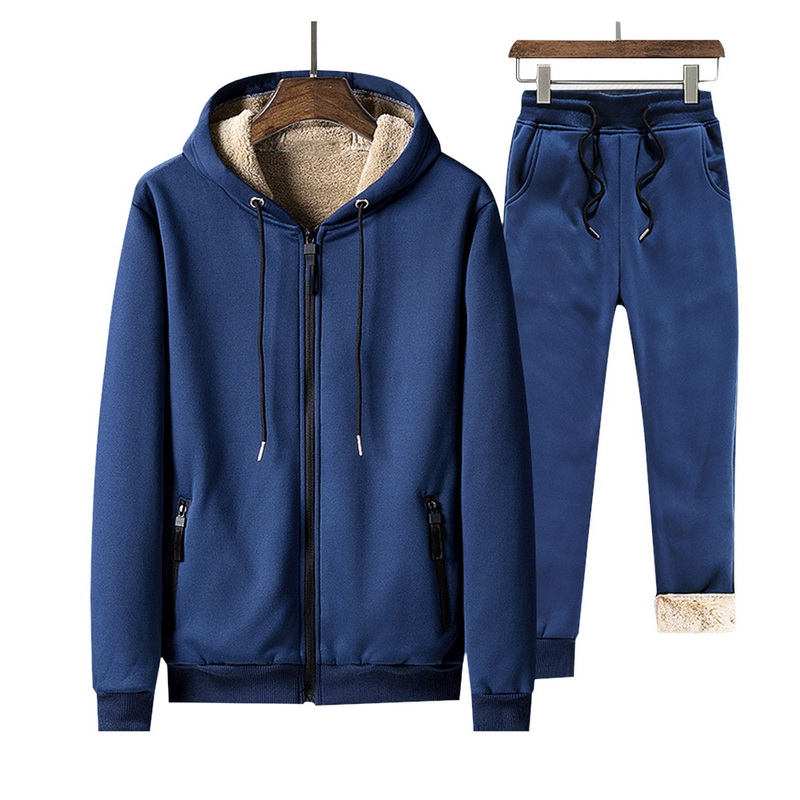 New Tracksuit Men New Hoodies Casual Warm Winter 2 PC Jacket+Pant Set Thicken Hoodie Joggers Sweatshirts Ropa Deportiva Hombre