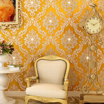 High-End European Style Damascus Diamond Set Wallpaper Bedroom Living Room Wall Library Nonwoven Fabric Gold Wallpaper