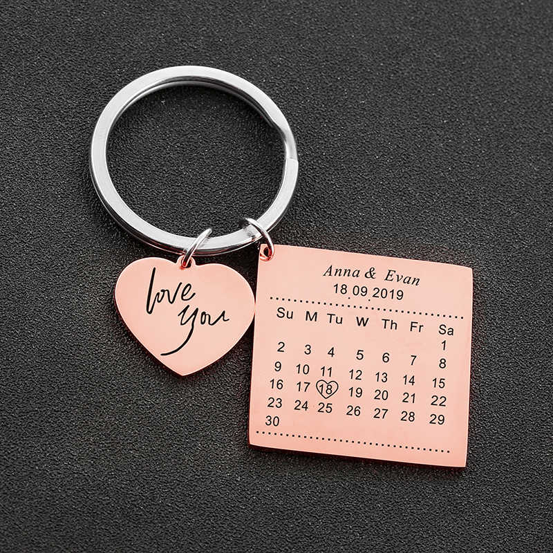 Love You Calendar Keychain Stainless Steel Key Ring With Heart Date Gift Jewe WQ
