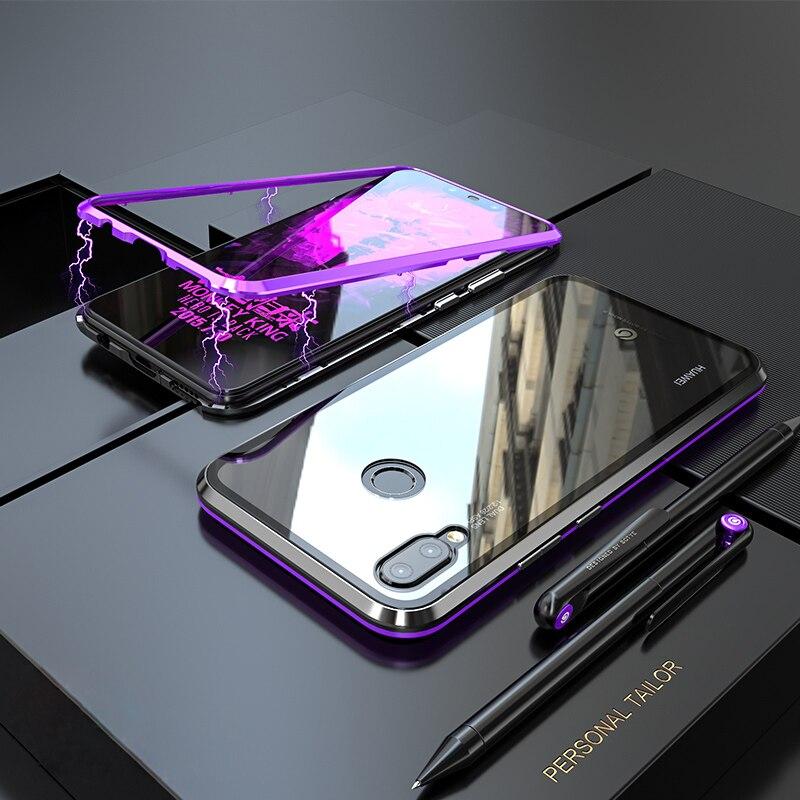 Caso magnético de luxo para huawei nova 3 3i mate 20 p20 pro lite metal vidro amortecedor capa traseira huawei nova 3i caso mate20 p20pro