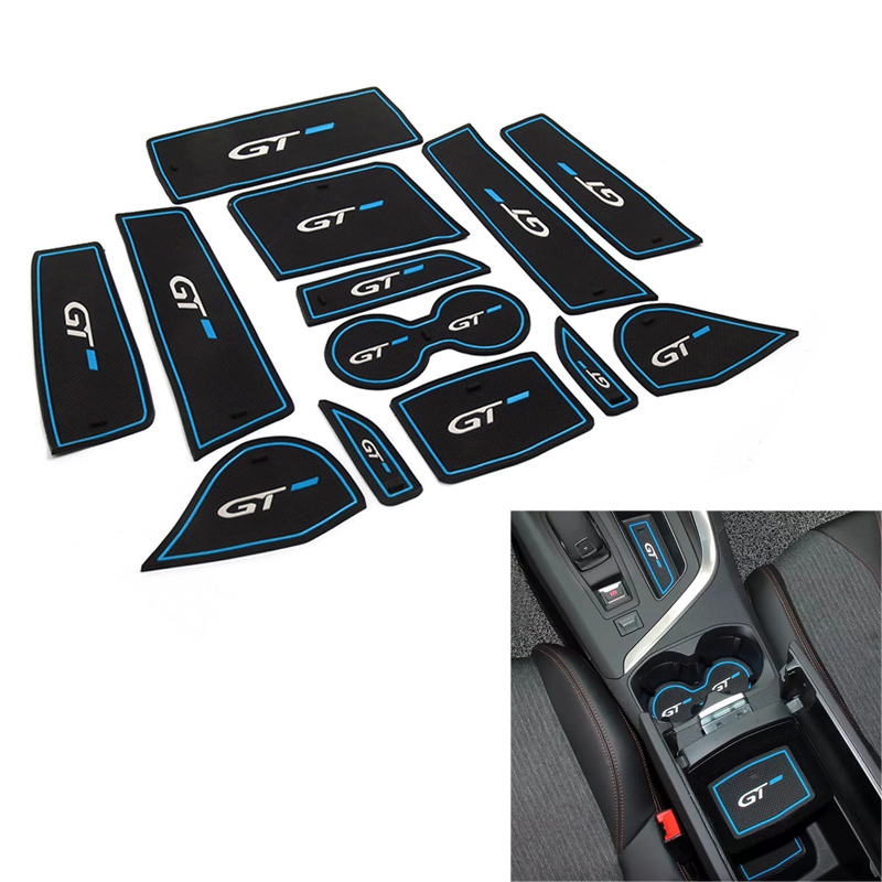 For <font><b>Peugeot</b></font> <font><b>5008</b></font> 3008 GT <font><b>2016</b></font> 2017 2018 Car Door Gate Slot Pad Groove Rubber Mug Cup Mat Non-slip Interior Accessories 13pcs/set image