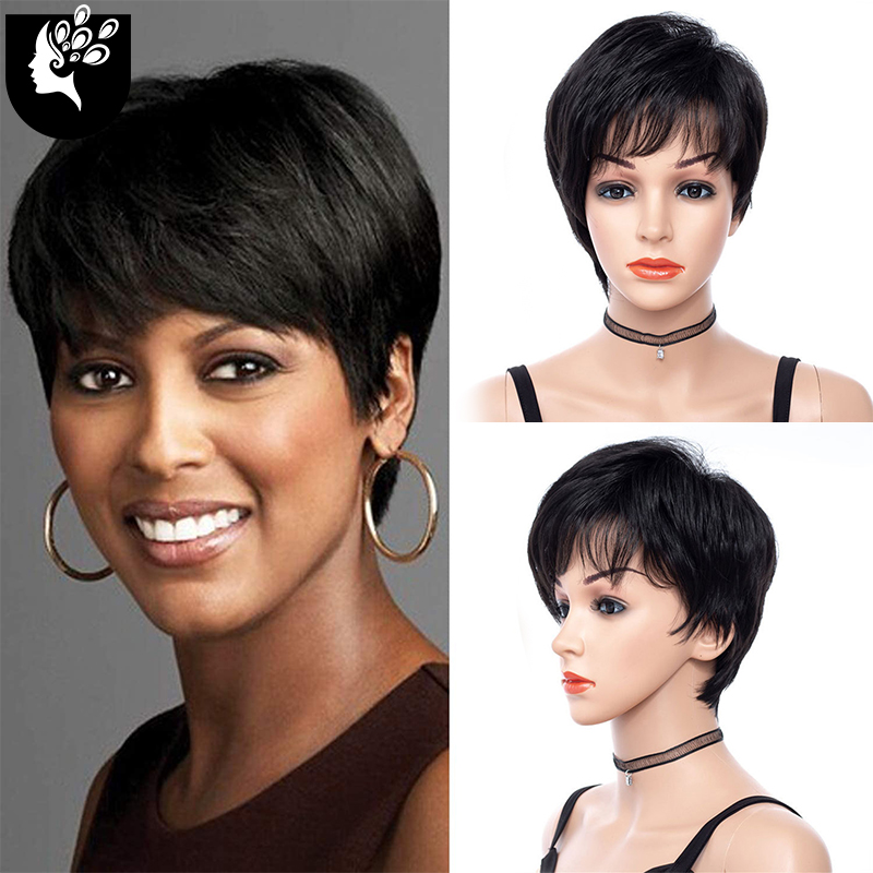 YOUR BEAUTY Synthetic Short Wigs For Black Women Natural Wave Synthetic Human Blend Hair With Bangs Bob Wig Daily Use 2021