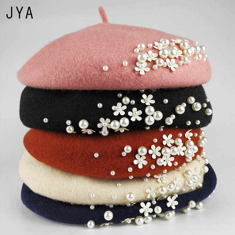 High Quality Knit 98% Pure Wool Felt Beret for Women Girls Elegant Female Beret British Style Winter Hat Solid Color Wholesale