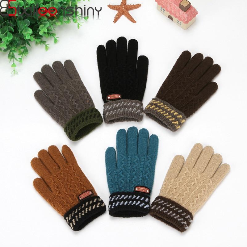 BalleenShiny Thicken Kids Knitted Gloves For Boys &Girls Warm Full Fingers Gloves Child Winter Mittens Hand Accessories