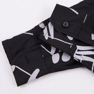 Image 5 - Рубашка мужская с длинным рукавом, блузка свободного покроя в горошек, с принтом музыкальных нот
