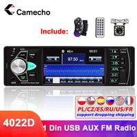 Camecho Radio de coche 1 din 4022d radio FM Audio de coche Bluetooth Estéreo Autoradio soporte de cámara trasera de Control de volante
