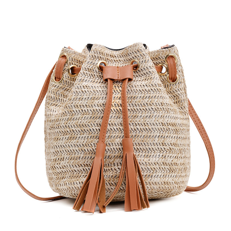 New Ladies Faux Leather Straw Tassel Summer Crossbody Bag Handbag