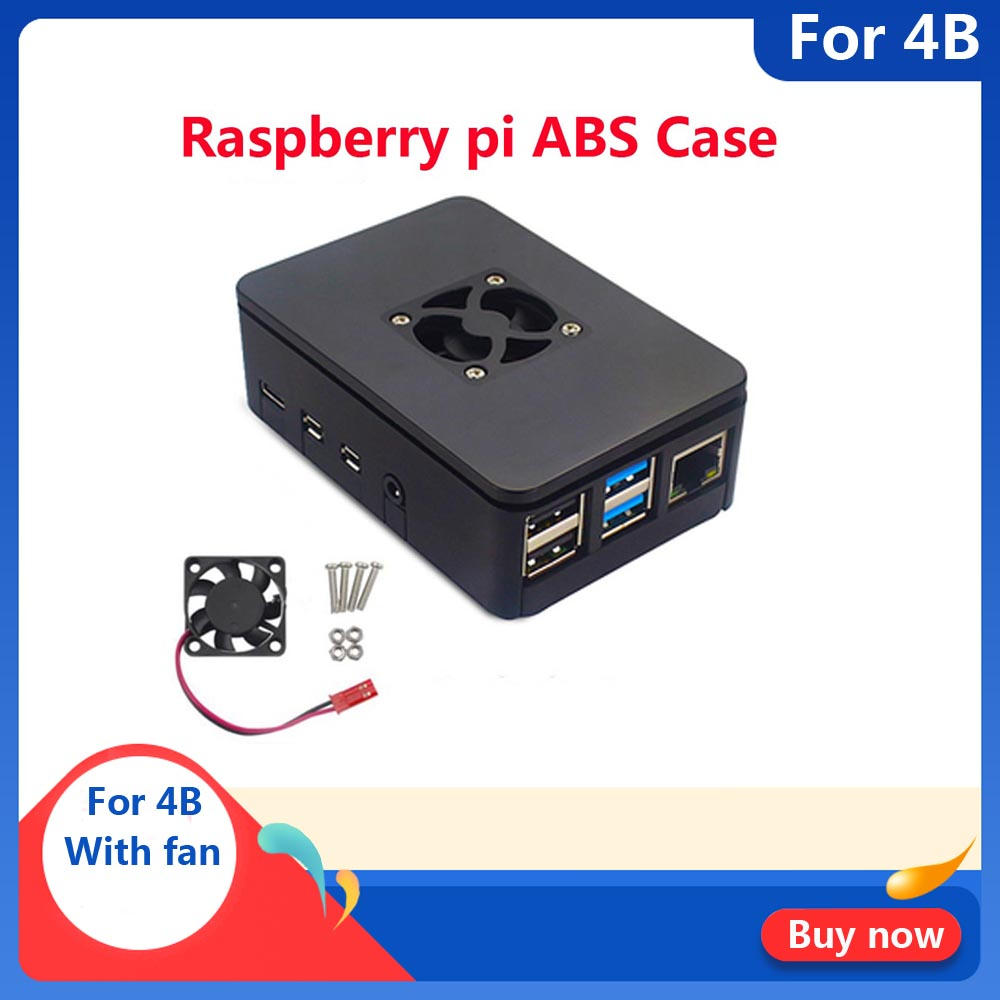 Raspberry PI 4 Model B 1GB/2GB/4GB ABS Case Cover With Cooling Fan Plastic Box Enclosure For Raspberry Pi 4B Cooling Shell Case