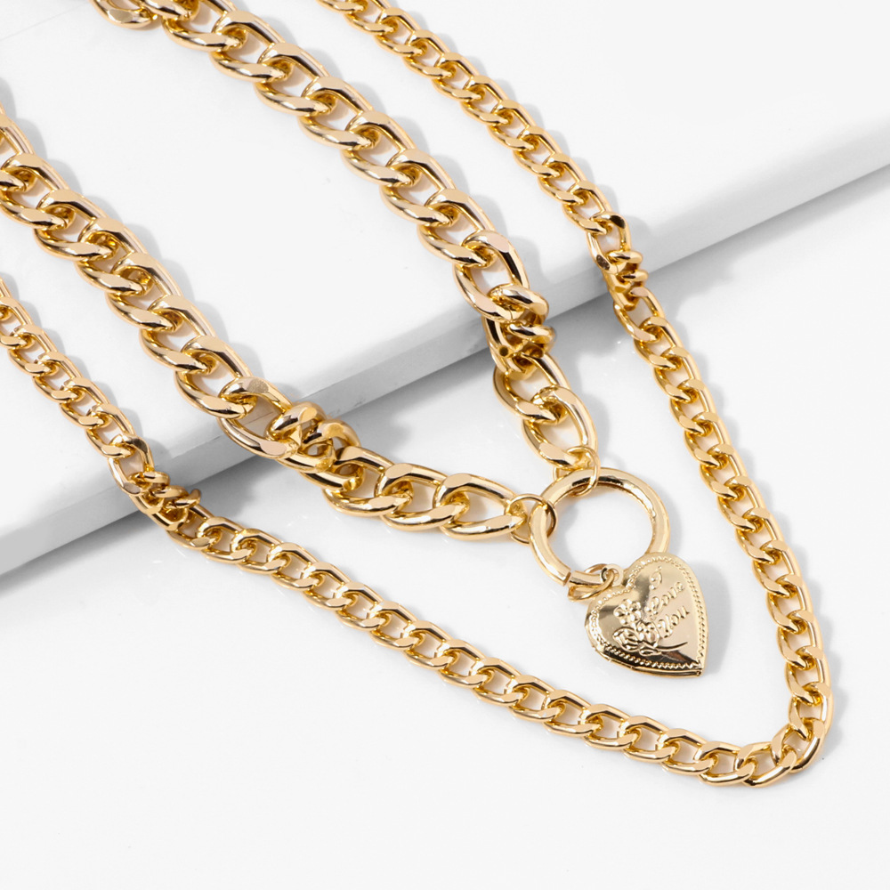 Multi Laye Lover Peach Heart Box Pendant Choker Necklace Steampunk Padlock Heart Chain Necklace Collier Best <font><b>Couple</b></font> <font><b>Jewelry</b></font> Gife image