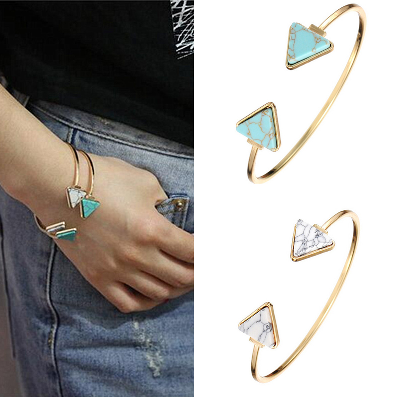 Fashion White Gold Plate Green Geometric Open Triangle Cuff Bracelet Punk Bangle Faux Marble Stone pulseras image