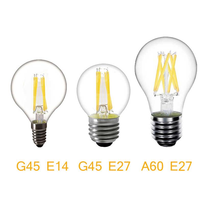 لمبة LED ريترو 2 واط 4 واط 6 واط 8 واط لا عكس الضوء E14 E27 قاعدة الدافئة الأبيض خيوط التيار المتناوب 220 فولت ST64 A60 G45 C35 C35L اديسون المصابيح