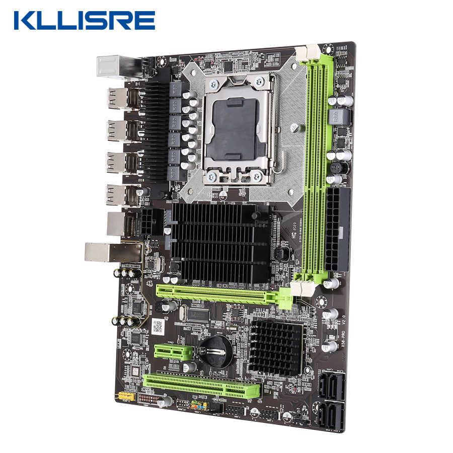 Kllisre x58 lga 1366 placa-mãe suporte reg ecc servidor de memória e processador xeon
