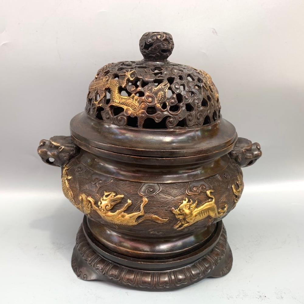 Свадебные украшения, китайские античные позолоченные круглые три корпуса, покрытые морским зверем, драконом, благовония, горелка, резная ло