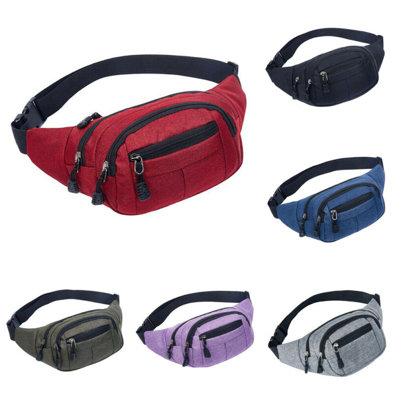 Mens Women Waist Bag Bum Fanny Pack Running Cycling Zip Belt Money Pouch Unisex