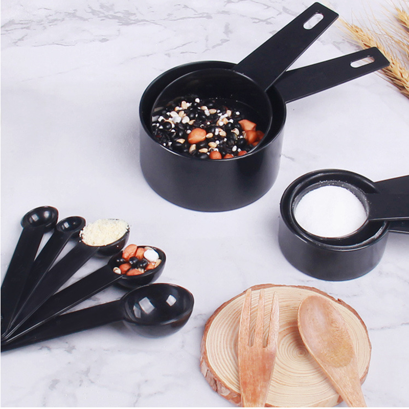 10pcs/set Measuring Cups And Measuring Spoon Coffee Sugar Scoop Silicone Handle Kitchen Baking Measuring Tool